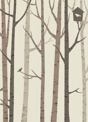 Poster Dekorative Silhouetten von Bäumen mit einem Vogel-und Vogelhäuschen