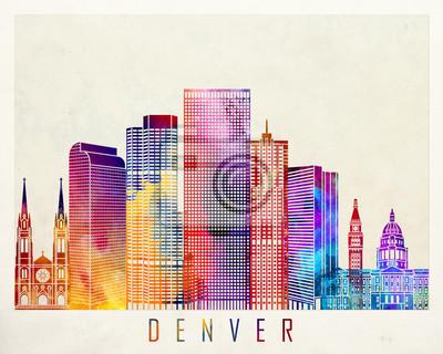 Denver-Grenzstein-Aquarellplakat