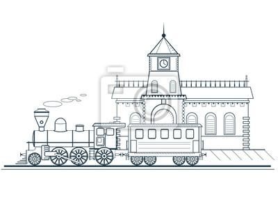 Poster Der alte Zug fährt vom Bahnhof ab. Detaillierte lineare Vektor-Illustration, Web-und Bewegungsdesign.
