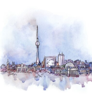 Poster Der Blick auf Berlin Aquarell der Europäischen Union Land auf dem weißen Hintergrund isoliert