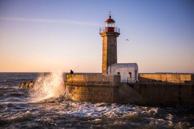 Poster Der Leuchtturm von Porto bei Sonnenuntergang