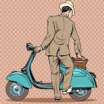 Poster Der Mann bekommt einen Roller