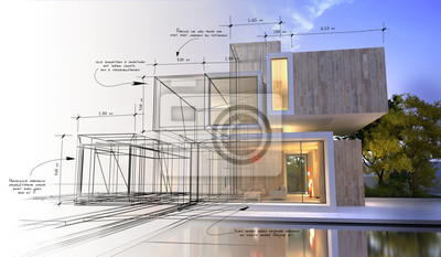Poster Design stages of luxury villa