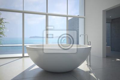 Designer-badezimmer mit meerblick wandposter • poster ...