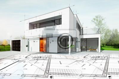 Poster Dessin d'une maison d'architecte avec planen