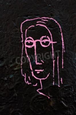 Poster Detail aus einer berühmten Lennon Wand in Prag