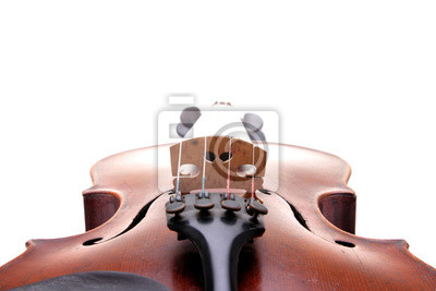 Detail of old scratched violin, isolated on white background.