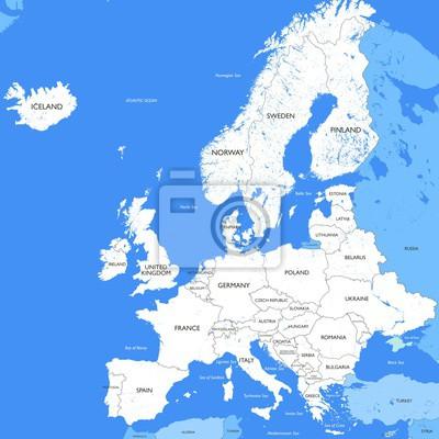 Karte Europa Schwarz Weiss.Poster Detaillierte Weisse Europa Karte Vector Eine Grosse Farbkarte