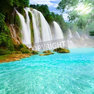 Poster Detian or Ban Gioc waterfall along Vietnamese and Chinese board.