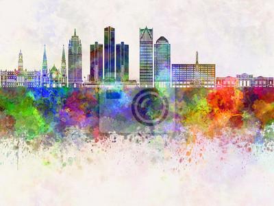 Detroit-Skyline im Aquarellhintergrund