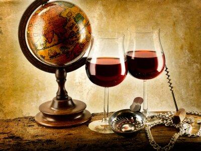 Poster di vino rosso bicchieri