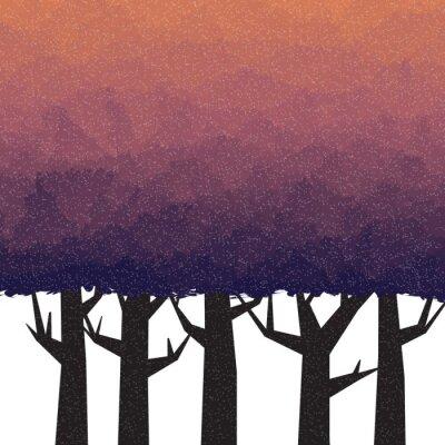 Poster Dicker Wald in der Dämmerzeit
