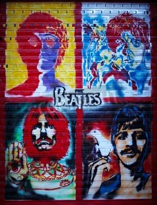 Poster Die Beatles Graffiti-Wand in Moskau, Stroitelei Straße