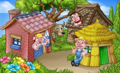Poster Die drei kleinen Schweine Märchenszene