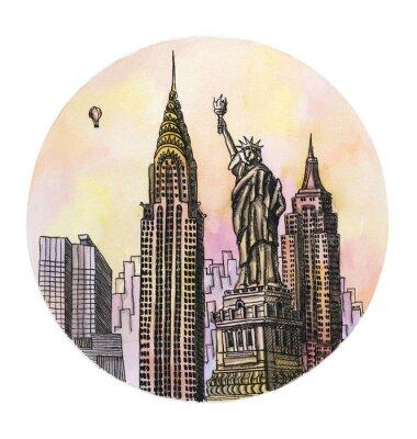 Poster Die New York mit Freiheit Denkmal Aquarell Handzeichnung, famouse arhitectural Building auf dem weißen Hintergrund isoliert.