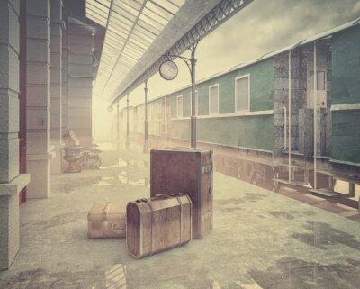 Poster die Retro-Eisenbahn Bahnhof