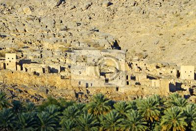 Die Ruinen der alten Gebäude Watt in Oman