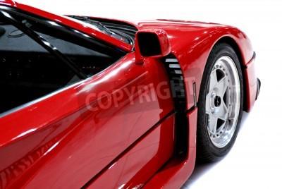 Poster Die Seiten- und Vorderende eines roten Sportwagen