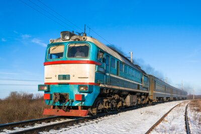 Poster Diesel Nahverkehrszug in der Ukraine.