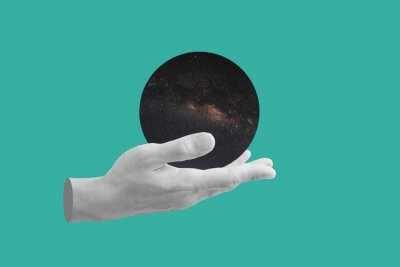 Poster Digital collage modern art. Hand holding circle space