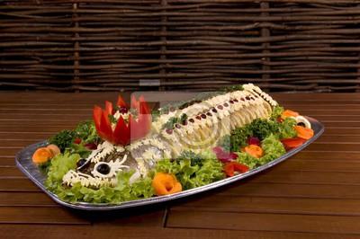 Dish Mit Fischfilet Mit Gemüse Mayonnaise Petersilie Salat