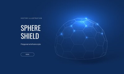 Poster Dome shield geometric vector illustration on a blue background. Geometric translucent shield futuristic for protection in an abstract glowing style