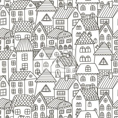 Doodle Häuser Nahtlose Muster Schwarz Weiß Stadt Hintergrund