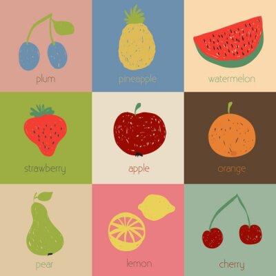 Poster Doodle Obst Symbole im Retro-Farben