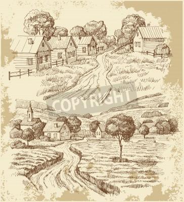 Poster Dorfhäuser Skizze mit Lebensmitteln