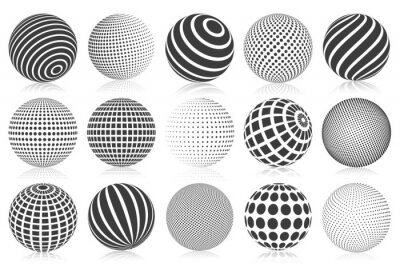 Poster Dotted halftone 3d sphere. Striped, dotted and checkered 3d spheres, abstract sphere balls. Minimalistic halftone spherical isolated vector symbols set