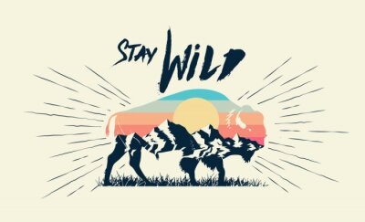 Poster Double exposure effect buffalo bison silhouette with mountains landscape and stay wild caption. T-shirt print design. Vector illustration.