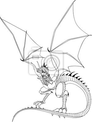 Dragon Line Drawing Wandposter Poster Haltung Versteckt Flügel
