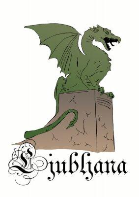 Dragon statue symbol of Ljubljana city in Slovenia