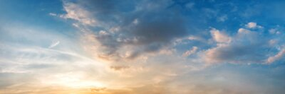 Poster Dramatic panorama sky with cloud on sunrise and sunset time. Panoramic image.