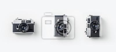 Poster Draufsicht auf Vintage Kameras auf weißem Hintergrund Schreibtisch für Mockup, Sammlung von verschiedenen Winkel.