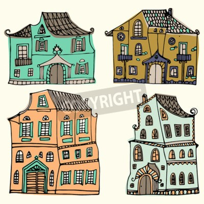 drawn set of sketched typical country houses isolated on white background. Cartoon houses. Front view. Colorful illustration.