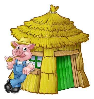 Poster Drei kleine Schweine Märchen Stroh Haus