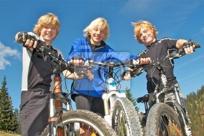Poster Drei Mountainbike-Freunde