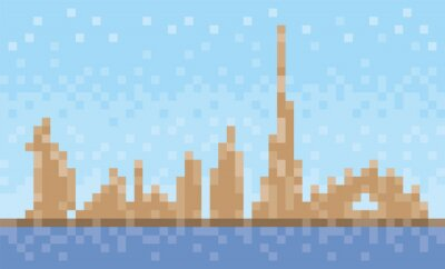 Dubai city skyline, pixel art background