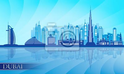 Dubai Skyline detaillierte Silhouette