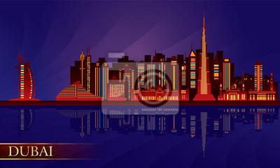 Dubai Skyline Nacht-Stadt