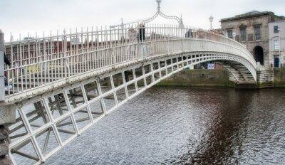 Dublin, Ireland. Waterfront and historic Ha'penny Bridge