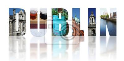 Dublin Irland reflektierte Collage auf Weiß