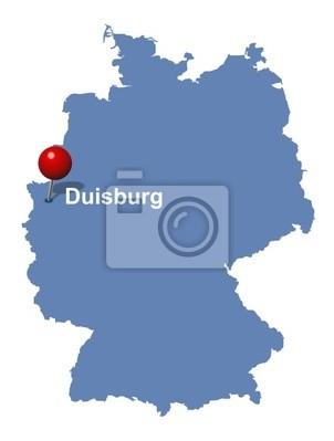 Duisburg Auf Der Deutschlandkarte Wandposter Poster Ruhr Strass