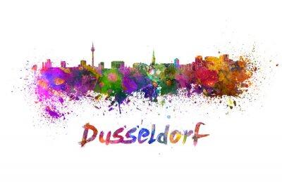 Dusseldorf skyline in watercolor