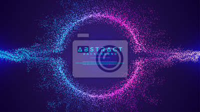 Poster Dynamic abstract liquid flow particles background. Shining abstract particle flow background. Futuristic background with dots combination. Eps10 Vector background.