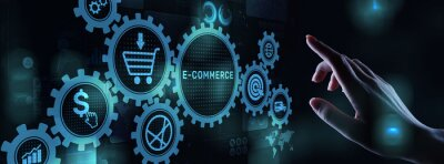 Poster E-commerce business online digital internet shopping concept on virtual screen.