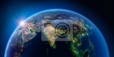 Poster Earth at night and the light of cities. India. South-east Asia.