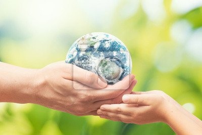 Poster Earth globe in hands. World environment day. Elements of this image furnished by NASA.