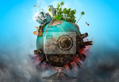 Poster Earth globe with peace and war battle ruined areas. Apocalypse, world saving, environment ecology, pollution, peace and world war concept. 3D illustration
